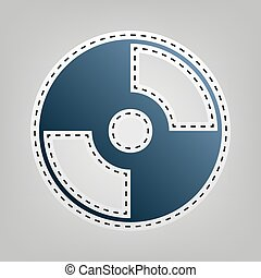 Vector CD or DVD sign. Vector. Blue icon with outline for...