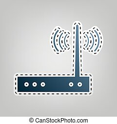 Wifi modem sign. Vector. Blue icon with outline for cutting...