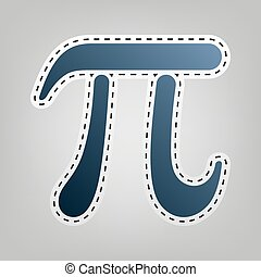 Pi greek letter sign. Vector. Blue icon with outline for...
