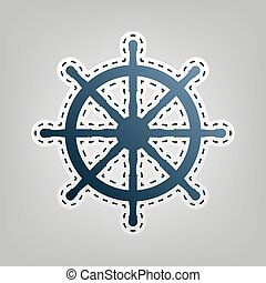 Ship wheel sign. Vector. Blue icon with outline for cutting out at gray background.