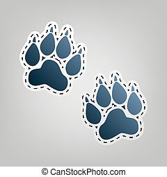 Animal Tracks sign. Vector. Blue icon with outline for...