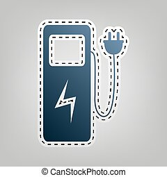 Electric car charging station sign. Vector. Blue icon with...