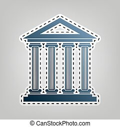 Historical building illustration. Vector. Blue icon with outline for cutting out at gray background.