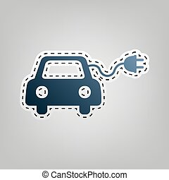 Eco electric car sign. Vector. Blue icon with outline for cutting out at gray background.