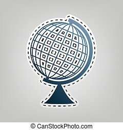 Earth Globe sign. Vector. Blue icon with outline for cutting...