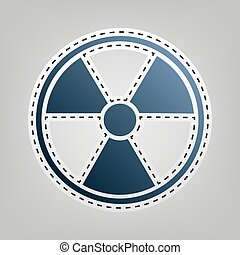Radiation Round sign. Vector. Blue icon with outline for...