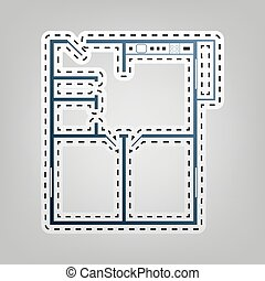 Apartment house floor plans. Vector. Blue icon with outline...