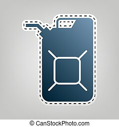 Jerrycan oil sign. Jerry can oil sign. Vector. Blue icon...