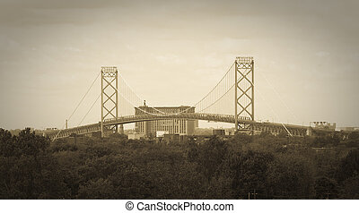 Ambassador Bridge International Border Crossing as seen from...