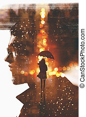 double exposure of silhouette woman and man face - double...