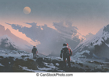 astronauts walking to derelict spaceship - sci-fi concept of...