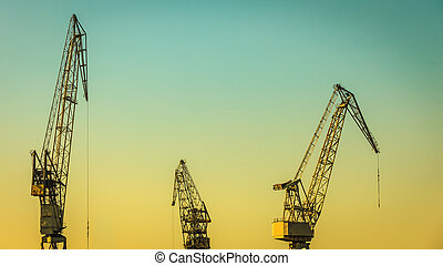 heavy load dockside cranes - Business and commerce. Heavy...