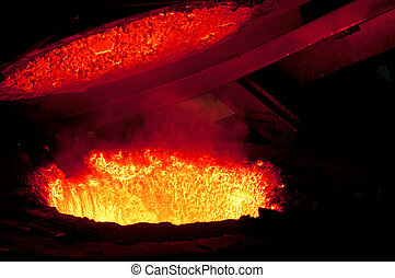 Hot metal 2 - Molten metal is poured in a foundry