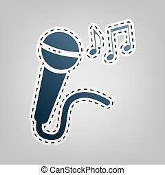 Microphone sign with music notes. Vector. Blue icon with outline for cutting out at gray background.