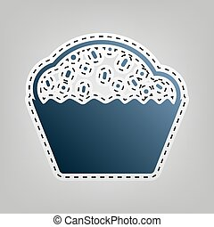 Cupcake sign. Vector. Blue icon with outline for cutting out at gray background.