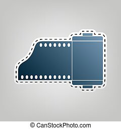 Old photo camera casset sign. Vector. Blue icon with outline...