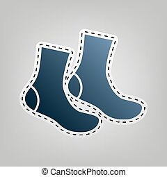 Socks sign. Vector. Blue icon with outline for cutting out...