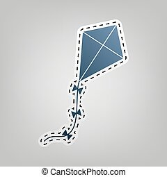 Kite sign. Vector. Blue icon with outline for cutting out at...