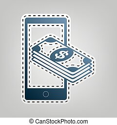 Payment, refill your mobile smart phone,. Vector. Blue icon...