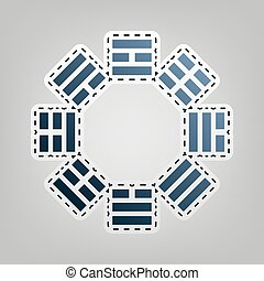 Bagua sign. Vector. Blue icon with outline for cutting out...