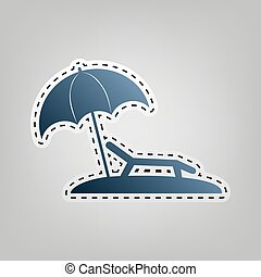 Tropical resort beach. Sunbed Chair sign. Vector. Blue icon...