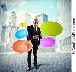 Networking and send messages - Man businessman sends...