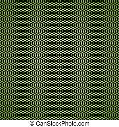 Green hexagon metal background