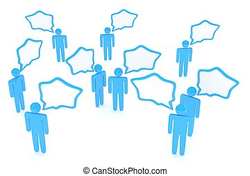 people with talk bubbles isolated over a white background....