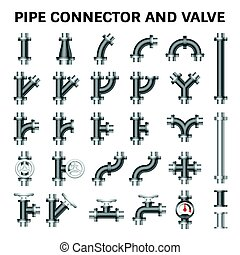 Pipe Connector Vector - Vector icon of steel pipe connector...
