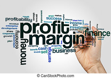 Profit margin word cloud concept on grey background