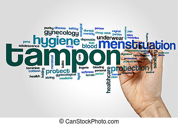 Tampon word cloud concept on grey background