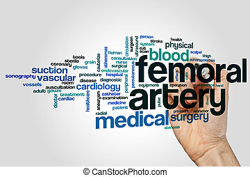 Femoral artery word cloud concept on grey background.