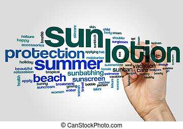 Sun lotion word cloud concept on grey background