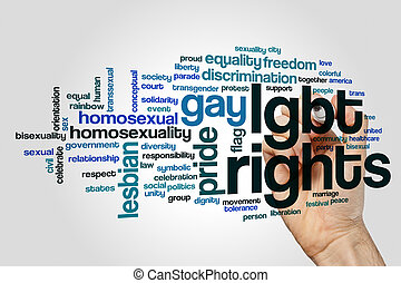LGBT rights word cloud concept on grey background