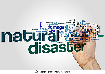 Natural disaster word cloud concept on grey background