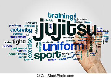 Jujitsu word cloud concept - Jujitsu word cloud on grey...