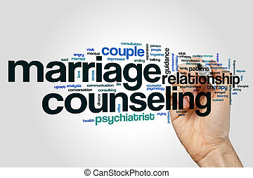 Marriage counseling word cloud concept on grey background