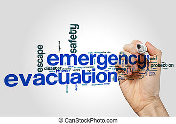 Emergency evacuation word cloud concept on grey background