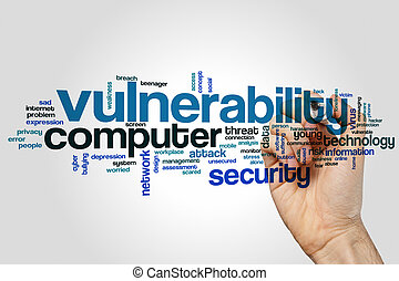 Vulnerability word cloud concept on grey background