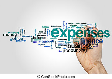 Expenses word cloud concept on grey background