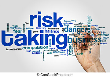 Risk taking word cloud concept on grey background