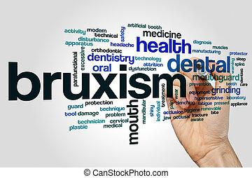 Bruxism word cloud concept on grey background.