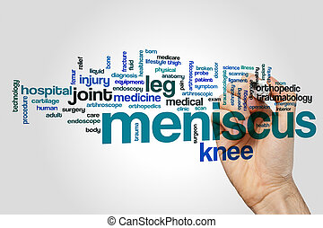 Meniscus word cloud concept on grey background