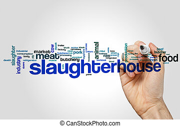 Slaughterhouse word cloud concept on grey background