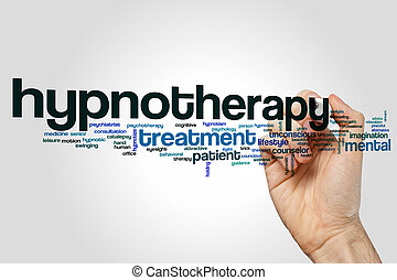 Hypnotherapy word cloud concept on grey background