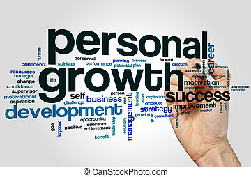Personal growth word cloud concept on grey background