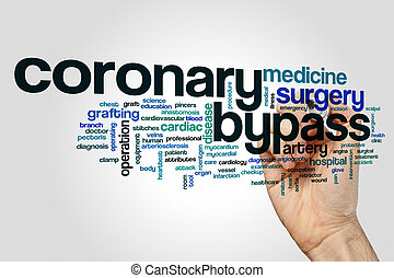 Coronary bypass word cloud concept on grey background.