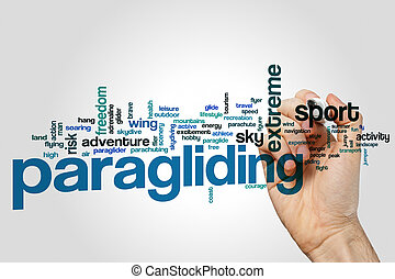 Paragliding word cloud concept on grey background