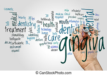 Gingiva word cloud concept on grey background