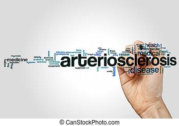 arteriosclerosis, palabra, gris, concepto, Plano de fondo,...